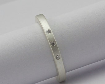 Three Diamond Ring - Matte Finish Sterling Silver - Eco Friendly - Modern Diamond Engagement Ring - Wedding Band - Wedding Ring