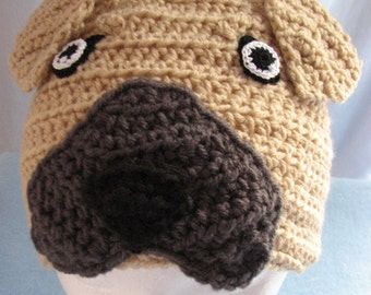 Adult Size Great Dane Hatwith Floppy or Pointy Ears Crochet Pattern In USA Terms, PDF, Digital Download