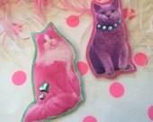 Neon Cats Badge Set