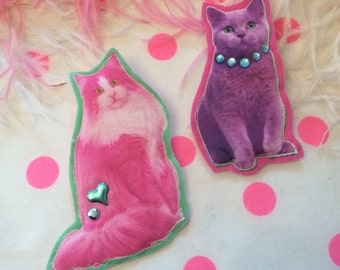 Neon Cats Badge Set