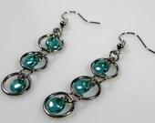 Green Earrings, Beaded Chainmaille Earrings, Long Dangle Earrings, Aluminum Earrings, Jump Ring Jewelry, Unique Earrings, Lightweight