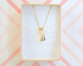 Modern Minimalist Little Gold Paddle Charm Necklace
