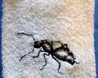 Black Ant  On White  Kitchen Towel Machine Embroidery Great gag gift