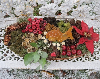 WiNTER BASKET number SIX natural  floral arrangement centerpiece  for the holidays