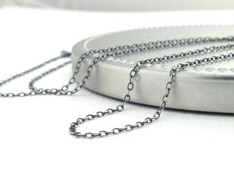 Sterling Silver Necklace Chain 1.5mm Flat Cable Oxidized Light Weight Silver Chain Interchangeable for Add On Pendants and Charms