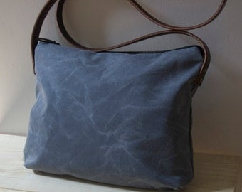 WAXED CANVAS Cross Body Bag, Day Bag  with Leather Strap - Gray