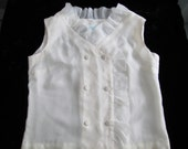 Vintage Sheer Ivory White Top Short Sleeve Vest with Ruffle