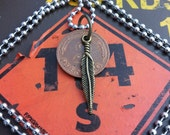 Pluma Oscura Upcycled Pfennig Coin Mens Necklace with Ball Chain