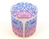 Thunderbird Lowball DOF Tumbler Glass - Frosted and Painted Glassware - Custom Made to Order Barware