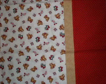 Holiday or Christmas Teddy Bear Print Standard Size Pillow Case