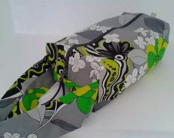Knitting boxbag with cotton lining-Green on gray