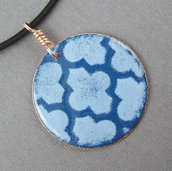 Two Blue Circle  Enameled Pendant