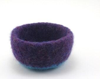 Felted wool bowl - mini felt bowl - grape and aqua