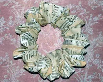 Musical Themed Hair Scrunchie, Ponytail Holder, Fabric Hair Tie, All That Jazz