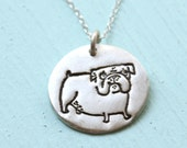 BULLDOG silver pendant - illustration by GEMMA CORRELL - handmade sterling silver necklace by Chocolate and Steel