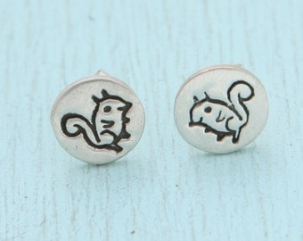 SQUIRREL stud earrings, Illustration by BOYGIRLPARTY, eco-friendly silver.  Handcrafted by artisan Chocolate and Steel.  Tiny animal