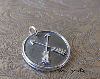 Double Arrow Necklace, Crossed Arrow Necklace, Wax Seal Jewelry, Fine Silver Wax Seal, Arrow Pendant