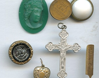 Vintage Destash (lot of 6 pieces) Glass Cameo, Victorian Button, Cross, Heart Charm, etc.  Stuff Supplies Misc Findings 9735