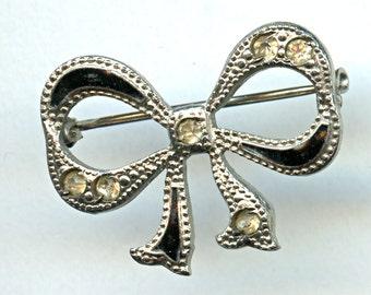 Black Enamel Sterling Rhinestone Bow Pin Brooch Vintage Art Deco 1144
