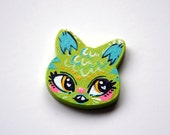 Green Cat Head Charm Necklace or Pin