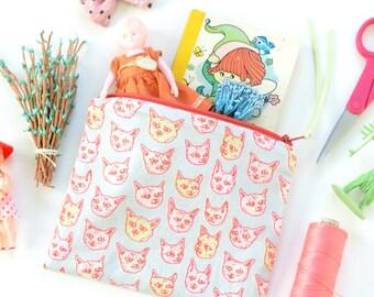 Gritty Kitties Zipper Pouch | Original Fabric Design