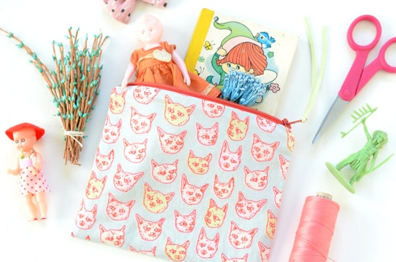 Gritty Kitties Zipper Pouch | Original Fabric Design