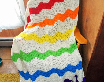 Somewhere Over The Rainbow Ripple Afghan Blanket, Chevron, Ripple, Afghan, Blanket, Throw, Afghan, Rainbow, Ready to Ship,Large size