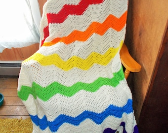 Somewhere Over The Rainbow Ripple Afghan Blanket -Chevron-Ripple-Ready to Ship-Large size
