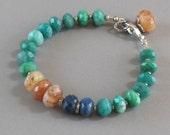 Amazonite Sunstone Opal Bracelet Sterling Silver Bead DJStrang Boho Cottage Chic Green Blue Orange
