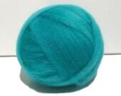 aqua wool roving, Spinning Fiber, turquoise, semi solid aqua,  w/ three free samples, needle felting wool, turquoise roving *ready to ship*