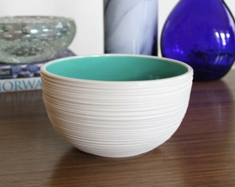 Turquoise Pottery Bowl - Groove Rice Bowl in Turquoise SHOP SALE