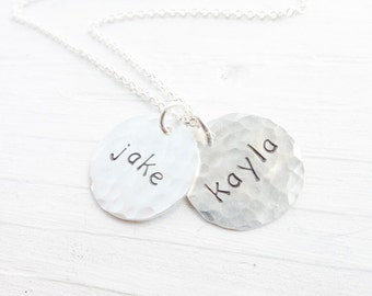 Hammered Name Necklace Personalized Jewelry with Childrens Names Handstamped Mom Neclace Kids