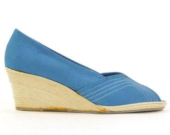 SALE Blue Espadrilles / Vintage 1970s / Women's Size 10