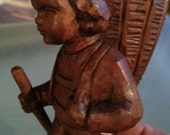 "Vintage hand carved wood sculpture of mountain boy carrying basket, from Italy or Germany, great condition, 4 1/2"" tall"