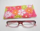 Eyeglass Case Orange and Pink  and Orange Floral Padded Eye glass Case