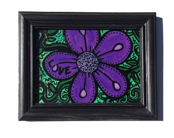 Love Flower Art - Original Mixed Media Collage Art, purple flower on green with handpainted black frame, flowers artwork, floral wall decor