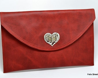 Red Leather Clutch with Heart Closure