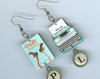 Book Cover Earrings - Pippi Longstocking quote - typewriter key - literary readers book club gift - mismatched earring designs by Annette