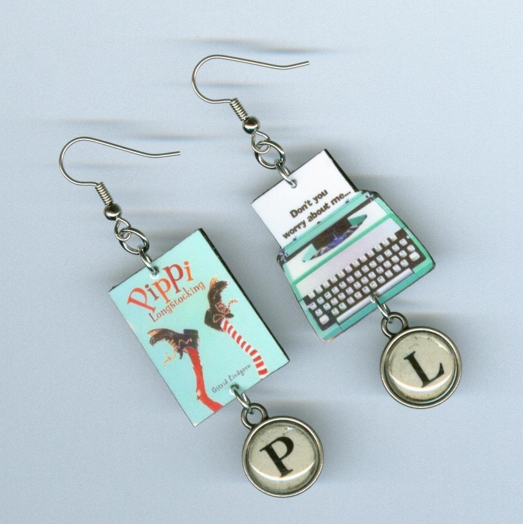 book cover earrings pippi longstocking quote typewriter