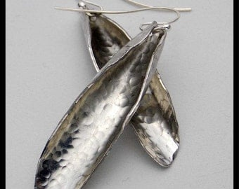 SKINNY PODS - Handforged Hammered & Curled Long Pewter and Fine Silver Statement Earrings