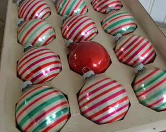 Shiny Brite Christmas Ornaments in Stripes, Round,