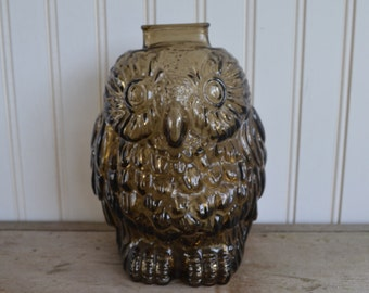 Vintage Wise Owl Bank - Brown Glass - Silk Creek Gallery