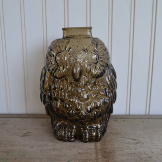 Vintage wise owl bank brown glass silk creek gallery - Wise old owl glass bank ...