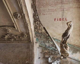 "Abandoned Photography, Urban Art, Urban Decay, Cuba Architecture Print, Havana Staircase, Urban Walls, Pastel Decor, Urbex ""Fidel"""