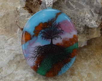 Blue and Pink Glass Pendant, Tree of Life Pendant, Oval Fused Glass Pendant,  Stone Look Glass Pendant -Tree of Life Fused Glass Pendant