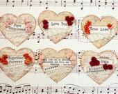 Paper Heart Embellishments - Set of 6 Die Cut Hearts, Card & Scrapbook Embellishment, Heart Shaped Tag, Paper Ephemera, Journal Tag
