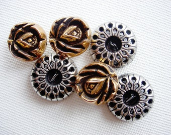 Two Sweet Sets of Vintage Flower Designed Metalized Plastic Buttons