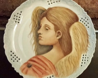 SALE: Guardian Angel Porcelain Plate  China Painted Kiln Fired