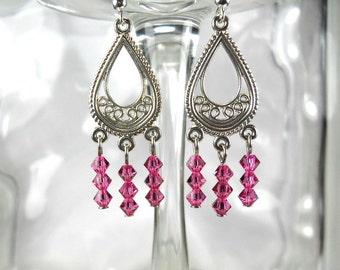 Swarovski Crystal Rose Chandelier Earrings-Pink-Prom-Wedding-Sparkly-Dangly