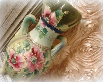 vintage hand painted moriage urn vase . shades of olive and aqua with burgundy rose